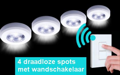 4 Draadloze Led Spots Schakelaar Actievandedag